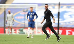 Arsenal manager Mikel Arteta looks pleased with the result.