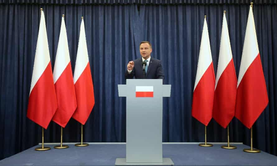 Andrzej Duda holds a press conference in the presidential palace in Warsaw.