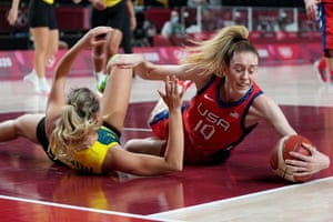 Breanna Stewart of the USA competes for the ball with Alanna Smith of Australia during the women's basketball.