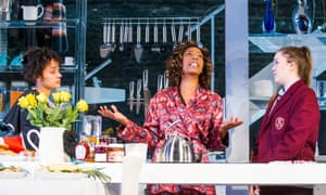 'At all times she seems not to be acting a part': Noma Dumezweni, centre, with Karla Crome and Imogen Byron in Linda at the Royal Court.