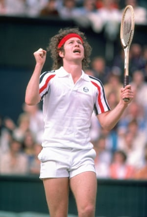 1980sThe headband, the tiny shorts, the Sergio Tacchini polo shirt in stars and stripes colours – and the giant mane – all make John McEnroe, pictured here in 1980, another reference point for tennis style.