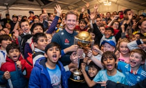 Eoin Morgan's journey to World Cup triumph began humbly and England's white-ball captain turned up at one of his early stamping grounds, Finchley CC, with the trophy in hand to keep the connection alive