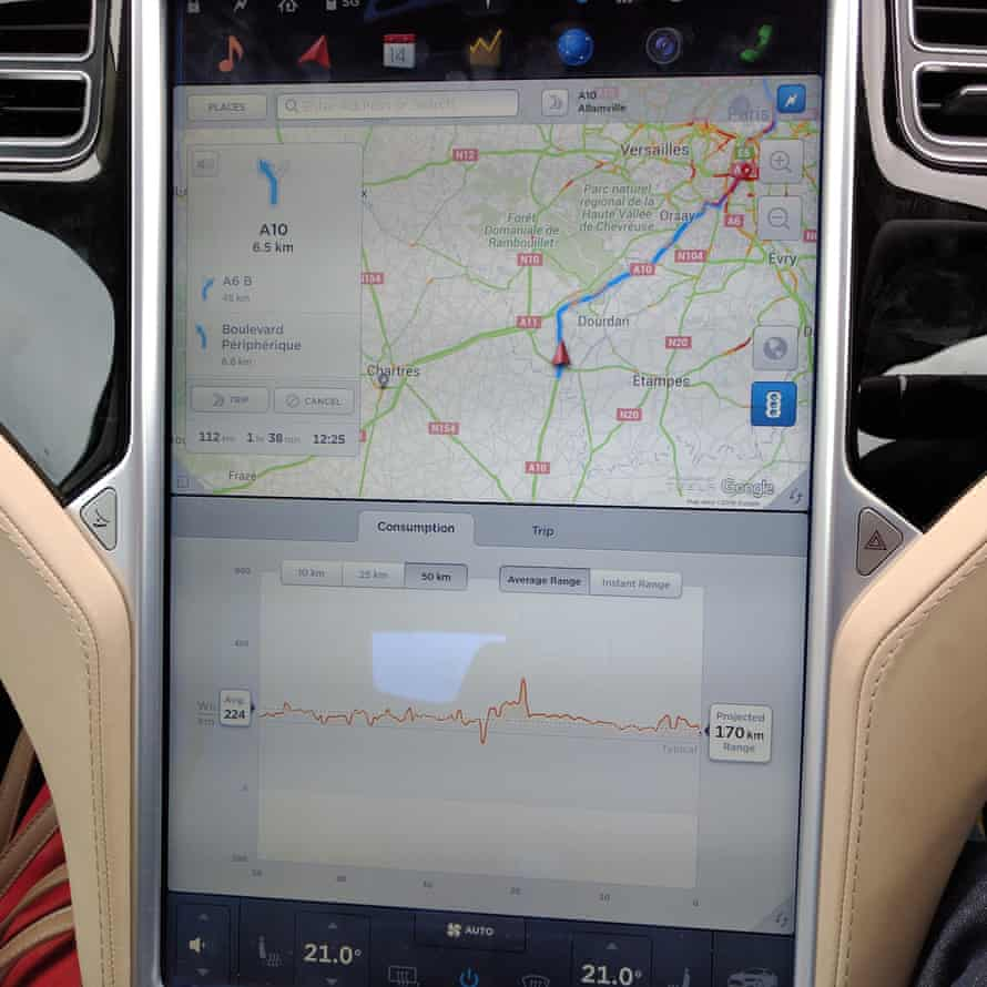 the power consumption graph placed on-screen with the navigation map