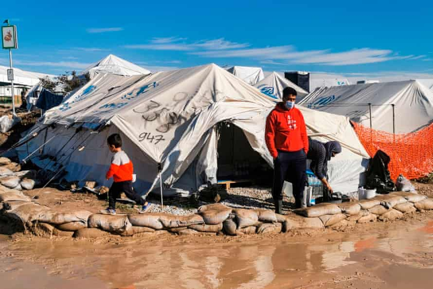 Rainfall has left parts of the new Kara Tepe camp waterlogged, and tents have been flooded on more than one occasion.