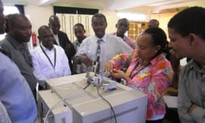 Participants learning to use instruments in the lab. Over the years Lancaster and Gachanja have raised over £60,000 for equipment.
