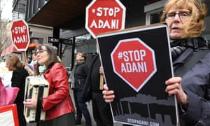 Adani protesters in Melbourne last year.