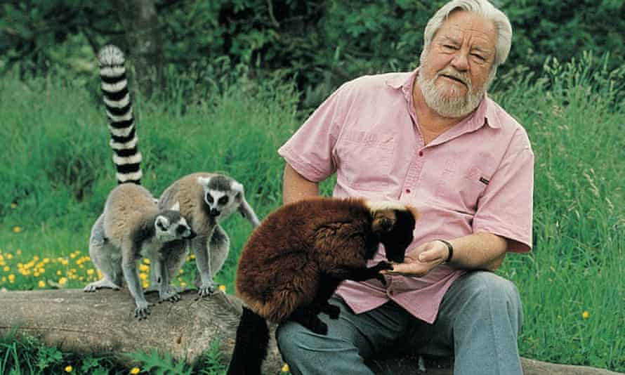 Gerald Durrell with some lemurs.