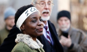 Therese Patricia Okoumou speaks to the media after her sentencing in New York.