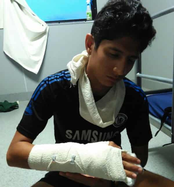Sawari, one of the youngest refugees held on Manus Island, says he was assaulted by a guard at the East Lorengau refugee transit centre in September 2015 in a fight over washing powder.