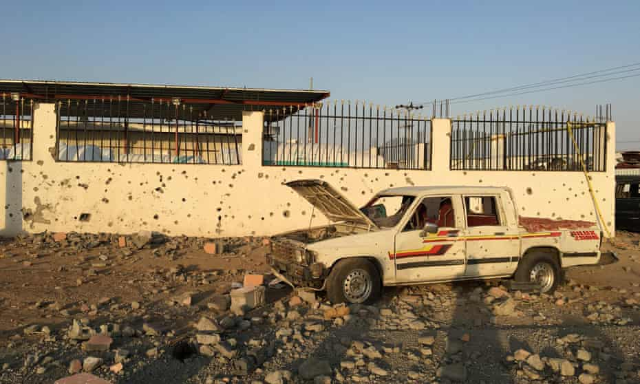 Buildings hit by Houthi rockets in Najran, Saudi Arabia, August 2016