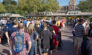 People queue for Disneyland in California
