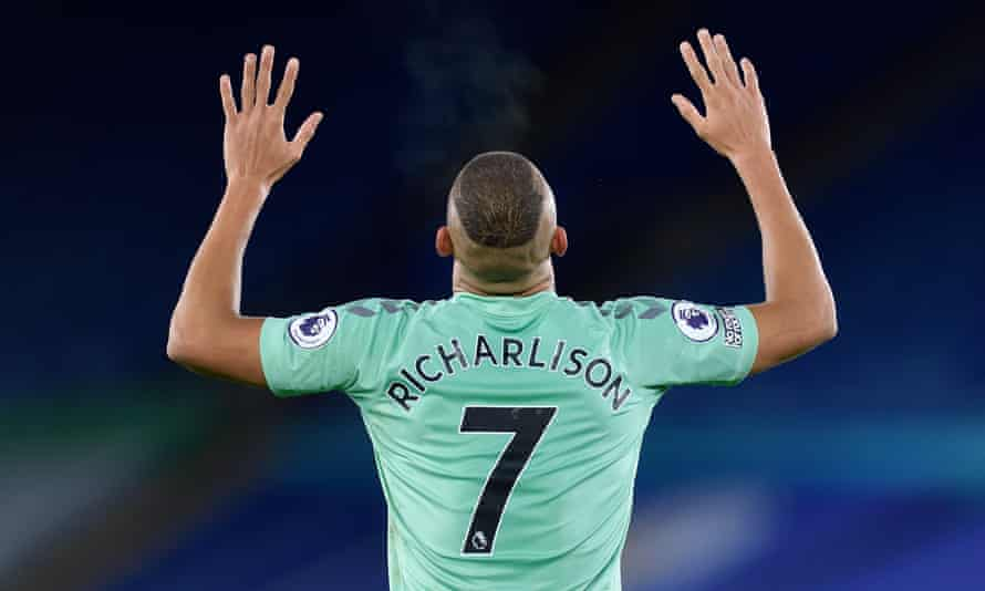 Richarlison of Everton celebrates scoring the opening goal against Leicester at the King Power Stadium.