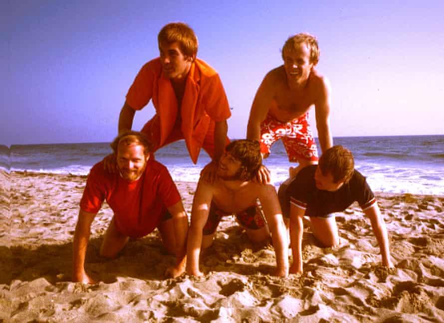 The Beach Boys in July 1967 in Los Angeles. Clockwise from top left: Dennis Wilson, Al Jardine, Carl Wilson, Brian Wilson Mike Love.