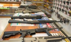 Guns are on display at Roseburg Gun Shop in Roseburg, Oregon, on October 2, 2015