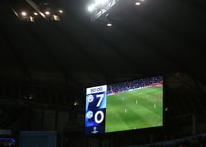 General view of the scoreboard during the match.