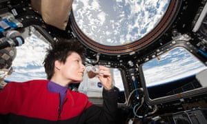 Astronaut Samantha Cristoforetti drinks the first espresso in space
