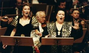 Montserrat Caballé singing with her daughter, Montserrat Marti, in Köln in December 1998