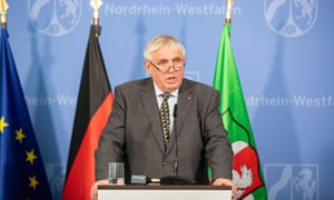 Karl-Josef Laumann,, Minister for Labour, Health and Social Affairs of North Rhine-Westphalia, makes a statement on the current incidence of coronavirus infections in the Coesfeld district and measures taken by the state government on May 8, 2020 in Duesseldorf, western Germany.