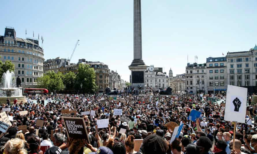 A Black Lives Matter demonstration in Trafalgar Square on 31 May
