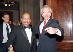 John Lewis as a newly elected Congressman in 1987, seen here on Capitol Hill with Senator Wyche Fowler.<br>