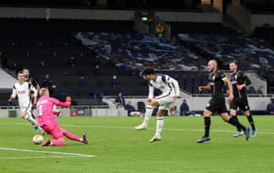 Heung-Min Son of Tottenham Hotspur scores his sides third goal.