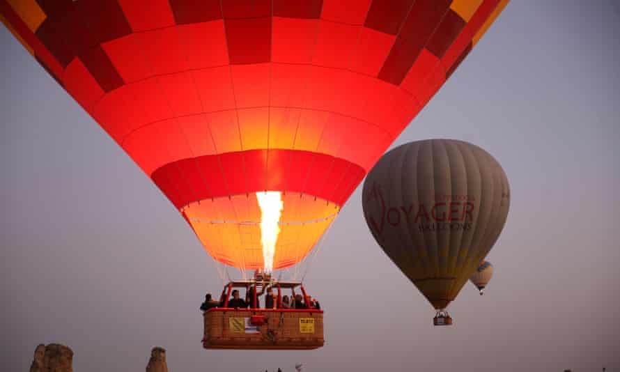 hot-air balloons over Turkey's Cappadocia region.