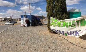 The shack occupied by striking workers in Ciudad Juárez.