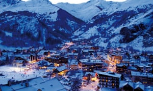 Sun downer: dusk over the Alpine village,