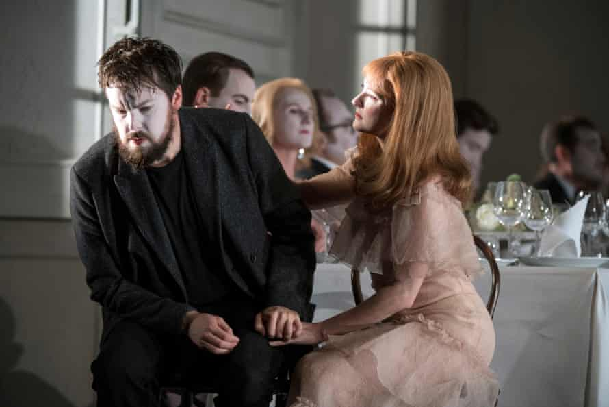 David Butt Philip in the title role, Jennifer France as Ophelia, in Glyndebourne's touring production of Brett Dean's Hamlet.