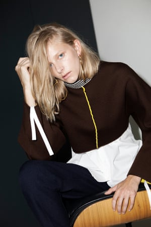 brown sweater with yellow zip and white and brown stripes around the neck Marni, white shirt Topshop, yellow and black trousers Asos, hoop earrings Jenny Sweetnam