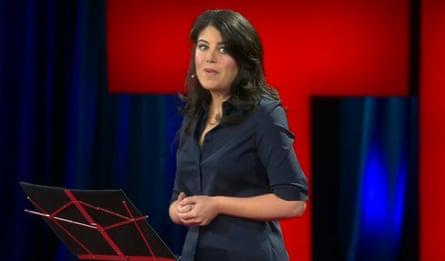 Lewinsky delivering her March 2015 TED talk