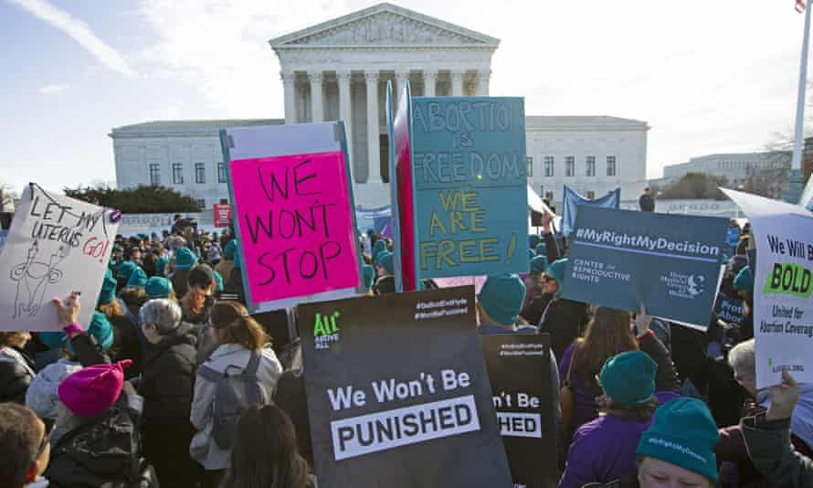 Abortion rights demonstrators rally outside the US supreme court in Washington DC, on 4 March.