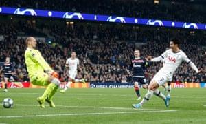 Son Heung-min slots past Red Star goalkeeper Milan Borjan to score Tottenham's third of the night.