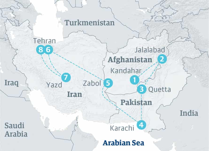 Map showing where Osama bin Laden's family travelled between 2001 and 2009