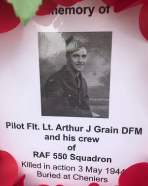 The wording on a a wreath for Pilot Arthur Grain. shot down in May 1944