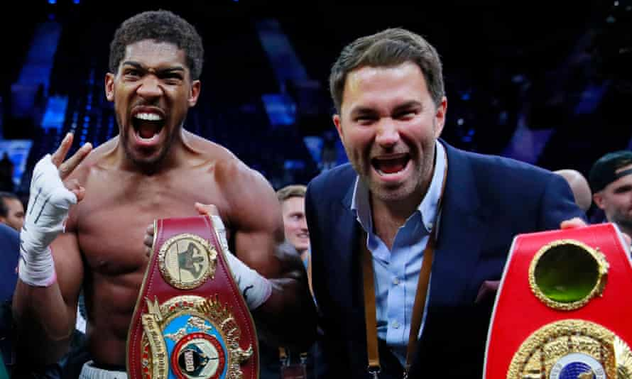 Eddie Hearn (right) said of potential next steps for Anthony Joshua and Tyson Fury: 'Fury will beat Wilder again and AJ will knock [Kubrat] Pulev clean out.'