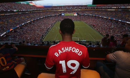 A Manchester United fan attends last year's ICC meeting between Manchester United and Barcelona at FedExField