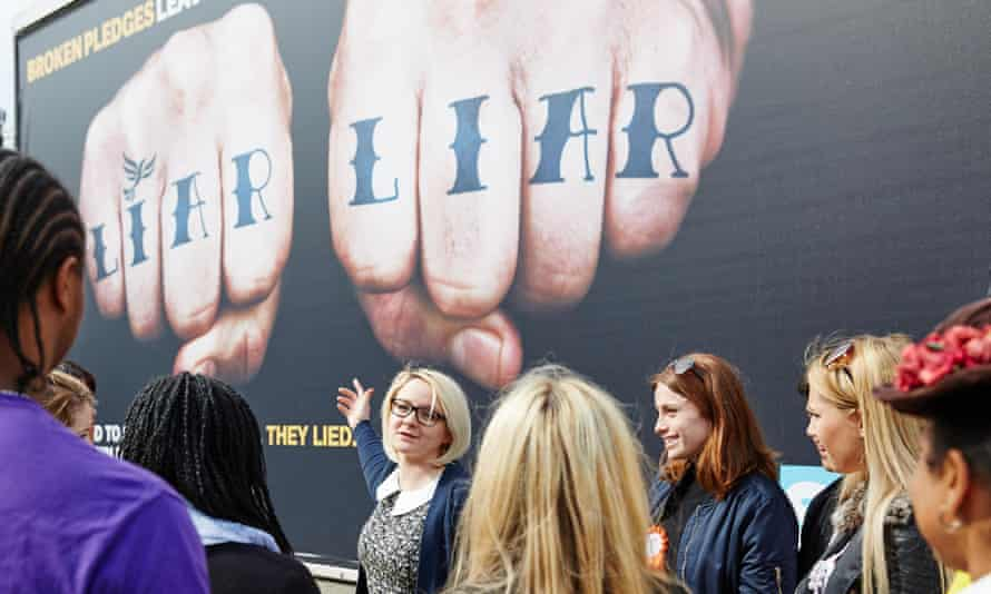 The NUS president, Toni Pearce, speaks to students at Middlesex University on 16 April with the 'liar liar' poster in the background.