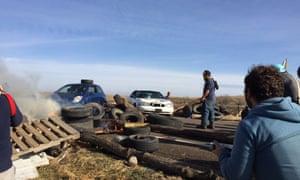 Dakota Access pipeline protesters confront law enforcement near the camp