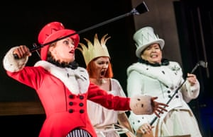Allison Cook (Red Queen), Jennifer France (Alice) and Carole Wilson (White Queen).