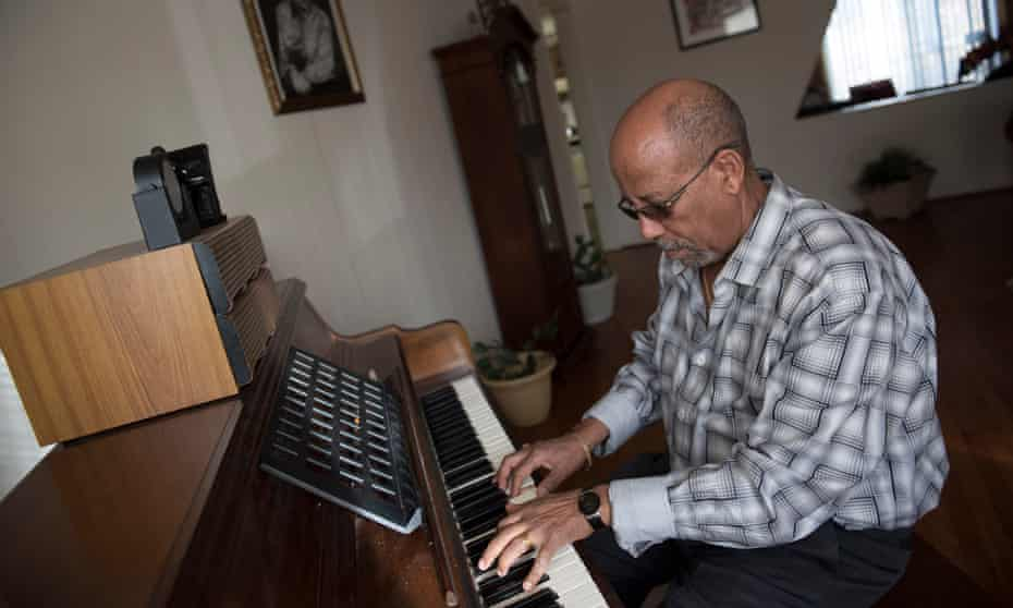 Hailu Mergia at home: 'The Lady Is a Tramp – I love that one! My favourite is old jazz.'