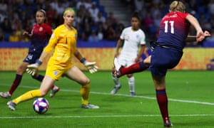 Norway's Lisa-Marie Utland shoots past England's goalkeeper Karen Bardsley but the shot is cleared off the line.