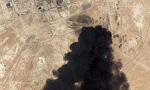 Smoke rising from the Abqaiq oil facility, Saudi Arabia.