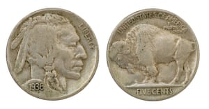 A 1936 five-cent nickel coin.