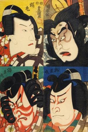 Four mini-portraits of actors, circa 1850 by Utagawa Kunisada.