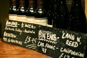 Bin ends of wine