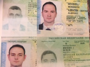 The passports of the four men apprehended by Dutch authorities.