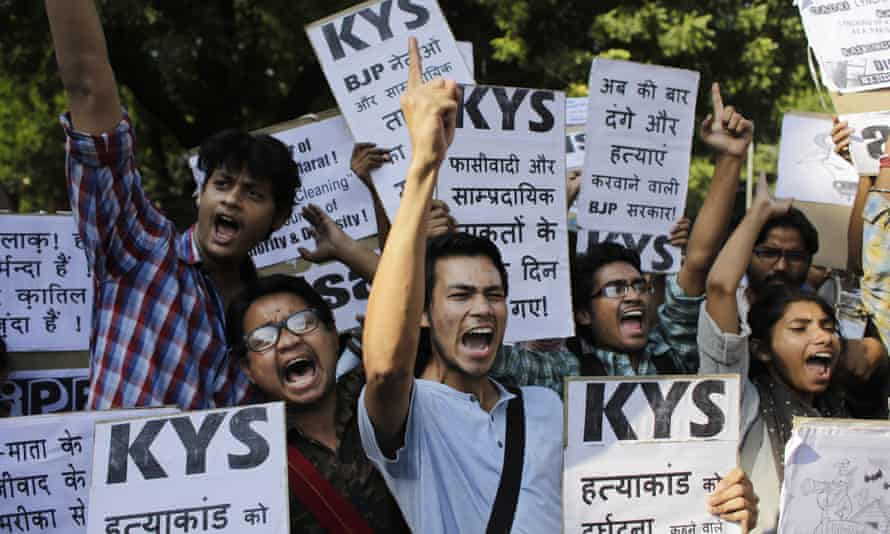 A protest against the lynching in October of a Muslim farmer by Hindus upon hearing rumours that the family was eating beef.