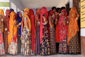 Ajmer, IndiaPeople queue to cast their vote at a polling station for the fourth phase of India's general elections in the outskirts of Ajmer, in the northern state of Rajasthan