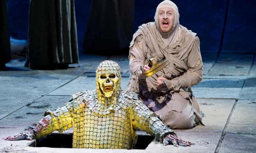 Iain Paterson as Amfortas and Andrew Greenan as Titurel in English National Opera's production of Parsifal.